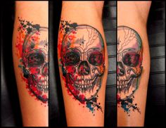 I don't usually pin skulls, but I love this one so much, probably because it looks hand-drawn and colored.  Artist: Kel Tait, Victims of Ink Chapel Street, Melbourne, Australia.