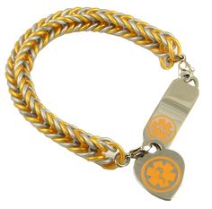 These rubber medical bracelets are a perfect solution for those needing a medical bracelet, but not wanting to spend a fortune. The rubber is latex free, so no worries about allergies. The rubber band attaches to the medical ID tag with stainless steel trigger clasps. This bracelet is made from durable silicone rubber bands.  $34.99 http://www.stylishmedicalid.com/Medical-ID-Bracelets/Rubber/Gold-Silver-Silicone www.stylishmedicalid.com