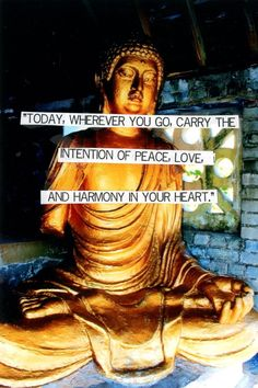 """Today, wherever you go, carry the intention of peace, love, and harmony in your heart."""