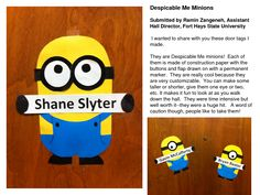 how to make the despicable me minions door tags | Despicable Me Minions Submitted by Ramin Zangeneh_ Assistant