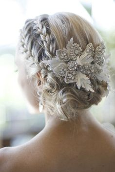 LOVE THE HAIR PIECE! Bridal Hair - 25 Wedding Upstyles & Updo's - An enchanting side braided upstyle with dazzling hair accessory creates an ethereal look | Would also be pretty for bridesmaids (minus the hair piece).