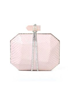 Marchesa Iris Clutch  Pale pink python minaudiere with rose quartz clasp wrapped in silver hardware embedded with crystals.
