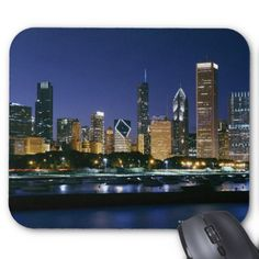 Skyline of Downtown Chicago at night Mouse Pad