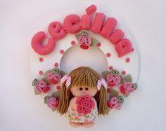 Enfeite Porta Maternidade menina floral