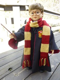 And the final product, with wand, and scarf, and cloak, all neatly in place.  Fun, fun, fun.  (In case you don't recognize it, this is a Harry Potter clone, as you might say.)