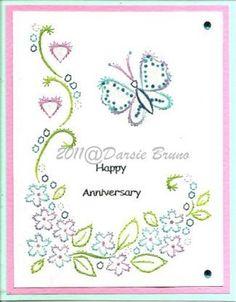 Floral Schmetterling Stickerei Muster für Grußkarten