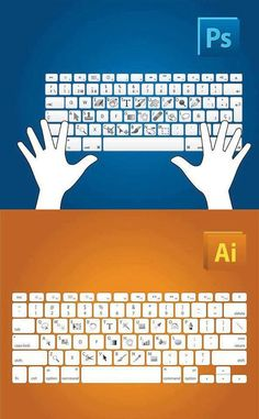 Adobe Photoshop and Illustrator Shortcut Keys. Making me wish I actually HAD photoshop and illustrator. Lightroom, Cs6 Photoshop, Photoshop Illustrator, Photoshop Tutorial, Photoshop Keyboard, Learn Photoshop, Photoshop Brushes, Photoshop Elements, Photoshop Photography