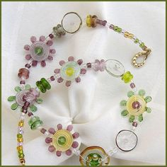 Flowers Glass Beads Necklace Yellow, Green and Purple - Handcrafted OOAK Lampwork Glass Beads