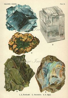 Vintage 1916 Minerals Crystals Rocks Print Antique Gems Precious Stones wall art lithograph bookplate