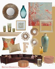 Living Room Style Ideas {Home Interior Mood Board} Home Decor, Tan, Red