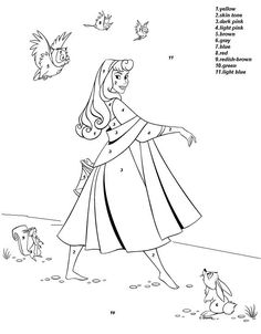 Disney Princess Aurora Color By Number Coloring Picture