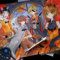 this is another piece from the past halloween i found during cleaning clamp trc team d its also a3 huge orz done in watercolors and gouache i love - I Luv Halloween Manga