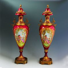 """Pair 19""""h Antique French Sevres Porcelain & Ormolu Urn Hand Painted Loves Court"""