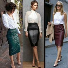 Leather skirt for winter Classy Outfits, Chic Outfits, Fashion Outfits, Womens Fashion, Pencil Skirt Outfits, Pencil Skirts, Cooler Look, Leather Dresses, Leather Skirt Outfits