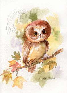 Owlet Owl Original Watercolor Painting Autumn Fall Leaves Tree