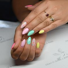 Colorful summer nails by Agnieszka Skowronia ☼ Semilac: 022,023,046,056,037 i 002 pod kwiatkami.