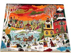 "Plat ""Paysage enneigé"" Alain Thomas et Émaux de Longwy Alain Thomas, Art Deco Design, Illustration Art, Illustrations, Folk Art, Creations, Japanese, Ceramics, Enamel"