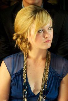 Julia Stiles chic, side-swept updo