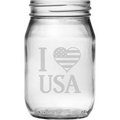 I Heart USA Drinking Jar (Set of 4)