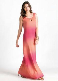 Vestido Longo Trapézio Coral Degradê - Quintess
