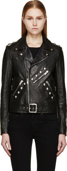 $6,450, Black Studded Leather Biker Jacket by Saint Laurent. Sold by SSENSE. Click for more info: http://lookastic.com/women/shop_items/138822/redirect