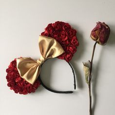 These mouse ears are inspire from the movie beauty and the beast. belle floral mouse ears Red floral artificial flowers Gold satin bow  All EARS
