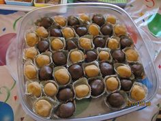 Shaklee chocolate protein treats.1/4 cup butter 6oz choc chips for dark brown ones or 6oz butterscotch chips for light ones Melt these together, then add: 1/2cup peanut butter 3 teaspoons honey 1/2 cup protein ( instant, vanilla or cocoa) Let them cool, then form into balls and refrigerate. Can also roll in crushed walnuts or coconut before refrigeration.