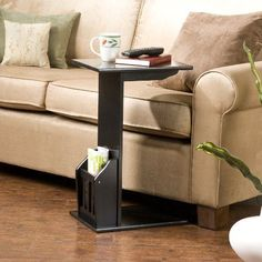 Sofa End Black Table Side Couch Tv Coffee Tray Snack Book Laptop Stand Magazine