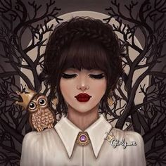Discovered by رنوشه. Find images and videos about owl, drawing and girly_m on We Heart It - the app to get lost in what you love. Tumblr Gril, Girly M Instagram, Sarra Art, Girly Drawings, Cute Girl Wallpaper, Girl Sketch, Digital Art Girl, Beautiful Drawings, Native American Indians