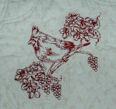 Advanced Embroidery Designs. Christmas Toile and Cardinal Embroidery Bed Quilt.