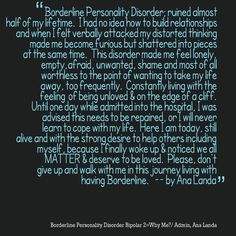 Borderline Personality Disorder - I can relate deeply to your emotional suffering & pain. You are not alone.  ♥•.¸~Ƹ̴Ӂ̴Ʒ~