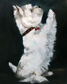 Little Beggar ((West Highland Terrier)) Oil Painting By Mary Sparrow