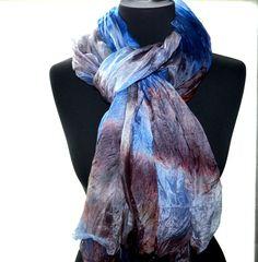 blue brown silk scarf womans hand dye handmade long oversise lightweg shawl wrap #Handmade #Scarf Silk Shawl, Pink Silk, Square Scarf, Blue Brown, Etsy Handmade, Handmade Gifts, Best Gifts, Gift Guide, Online Shopping