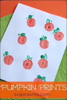 Pumpkin Stamp art with thumbprint leaves.