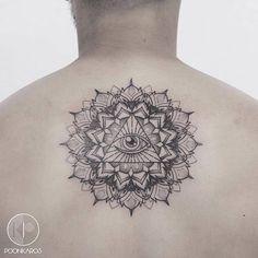 Eye of Providence mandala tattoo on the upper back. Tattoo artist: Karry Ka-Ying Poon · Poonkaros