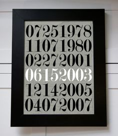 Special Dates Wall Art Numbers With Map  Anniversary by BeauChic, $15.00