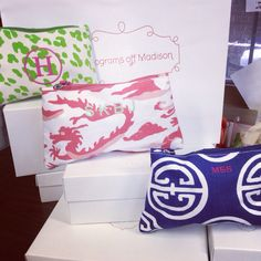 Dana Gibson pouches with monograms from Monograms off Madison