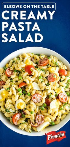 This Creamy Pasta Salad recipe has a bold, secret ingredient: French's Spicy Brown Mustard. Give your Fourth of July picnic or cookout an easy upgrade in only 20 minutes with this tangy side dish, the perfect summer food to please a crowd. Serve with bu Creamy Pasta Salads, Pasta Salad Recipes, Macaroni Salads, Pot Pasta, Pasta Dishes, Vegetarian Recipes, Cooking Recipes, Healthy Recipes, Cooking Games