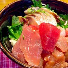 鯵のお刺身と切り落としで海鮮丼*\(^o^)/* ウマッ❤️ 2014.4.21 - 55件のもぐもぐ - 海鮮丼で夕食 by kazu347