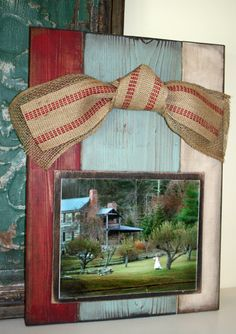 Large Plank Frame Brown Red White and Blue by Swanky Southern Styles, $55.00