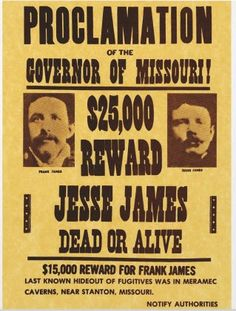 A Wanted Poster Of The Outlaw, Jesse James. What Is His Connection To  Dillinger  Criminal Wanted Poster