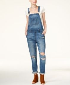 American Rag Juniors' Ripped Cuffed Overalls, Only at Macy's - Blue 11