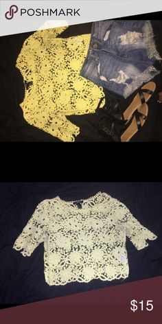 CUTE YELLO FLOWER LACE TOP⭐️ Bought from Forever 21💓 Worn 1 time $10 for shirt alone  $15 when you buy shirt & shorts $5 for shirt alone (SANDALS NOT INCLUDED)  (FREE SHIPPING)✅✅ Forever 21 Tops Blouses