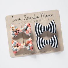 Tuxedo Bow Baby Girl Headband Pigtail Set - Infant Bows - Black and White Stripe - Peach Posies - Toddler Alligator Clip Cotton Bows Kids Hair Bows, Baby Hair Bows, Baby Girl Headbands, Making Hair Bows, Fabric Bows, Baby Girl Fashion, Felt Flowers, Diy Hairstyles, Diy And Crafts