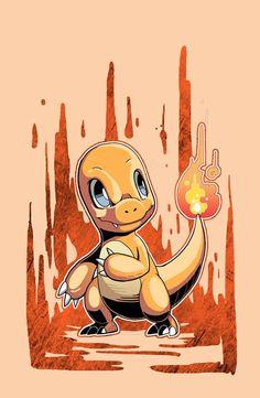 Charmander, pokemon starters by Wei Jing.