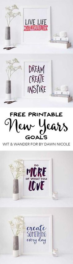 Free Printable New Years Resolutions Wit & Wander for By Dawn Nicole