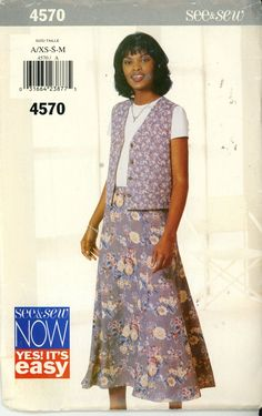 See and Sew 4570 Vest and Skirt - New Size XS-S-M - Sewing Patterns
