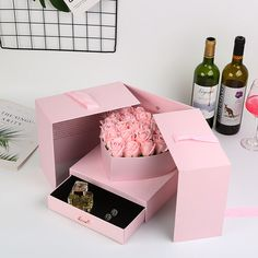 Custom Opening Flower Gifts Box With For Valentine's Day,Double Opening Gift Box,Flower Packaging Square Boxes Valentines Gift Box, Gift Box Birthday, Surprise Box Gift, Diy Gift Box, Flower Box Gift, Flower Boxes, Chocolate Bouquet Diy, Gift Box Design, Flower Packaging