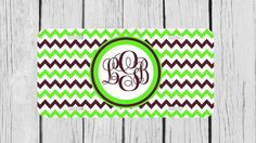 Personalized Monogrammed Chevron Green Brown by TopCraftCase