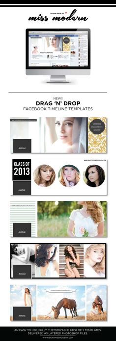 New From the Miss Modern Shop: Photographers Facebook Timeline Templates. Send to clients + use for your business. Win!